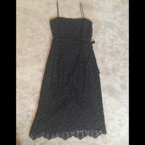 👗J.CREW Vintage black dress with polka dots